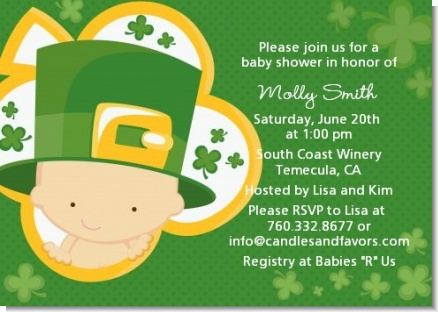 St. Patrick's Baby Shamrock - Baby Shower Invitations