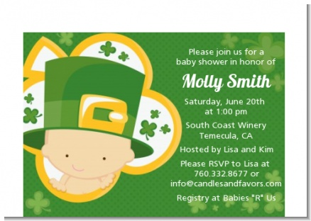 St. Patrick's Baby Shamrock - Baby Shower Petite Invitations