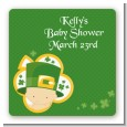 St. Patrick's Baby Shamrock - Square Personalized Baby Shower Sticker Labels thumbnail