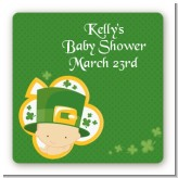 St. Patrick's Baby Shamrock - Square Personalized Baby Shower Sticker Labels