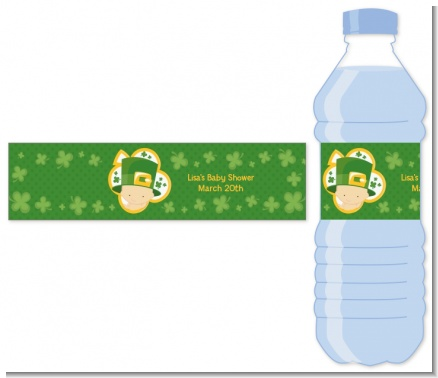 St. Patrick's Baby Shamrock - Personalized Baby Shower Water Bottle Labels