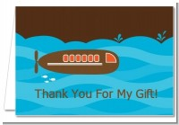 Submarine - Birthday Party Thank You Cards
