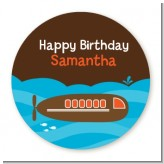 Submarine - Round Personalized Birthday Party Sticker Labels
