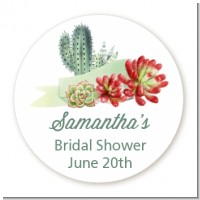 Succulents - Round Personalized Bridal Shower Sticker Labels