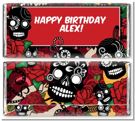 Sugar Skull - Personalized Birthday Party Candy Bar Wrappers