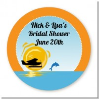 Sunset Trip - Round Personalized Bridal Shower Sticker Labels