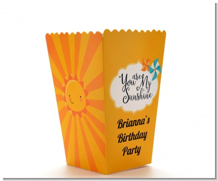 You Are My Sunshine - Personalized Birthday Party Popcorn Boxes