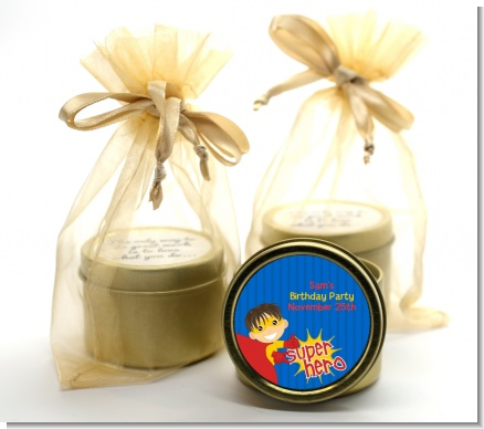 Superhero Boy - Birthday Party Gold Tin Candle Favors