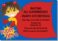 Super Hero Girl - Birthday Party Invitations
