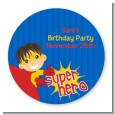 Superhero Boy - Round Personalized Birthday Party Sticker Labels thumbnail