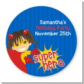 Superhero Girl - Round Personalized Birthday Party Sticker Labels