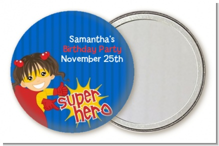 Superhero Girl - Personalized Birthday Party Pocket Mirror Favors
