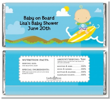 Surf Boy - Personalized Baby Shower Candy Bar Wrappers