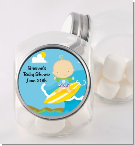 Surf Boy - Personalized Baby Shower Candy Jar