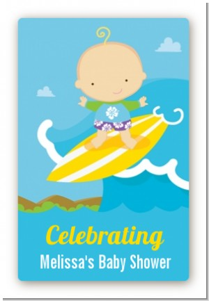 Surf Boy - Custom Large Rectangle Baby Shower Sticker/Labels