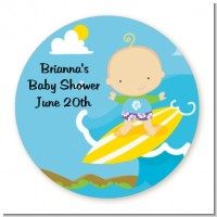 Surf Boy - Round Personalized Baby Shower Sticker Labels