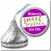 Sweet 16 - Hershey Kiss Birthday Party Sticker Labels