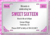 Sweet 16 License Plate - Birthday Party Invitations
