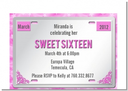 Sweet 16 License Plate - Birthday Party Petite Invitations