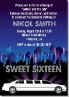 Sweet 16 Limo - Birthday Party Invitations
