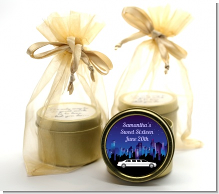 Sweet 16 Limo - Birthday Party Gold Tin Candle Favors
