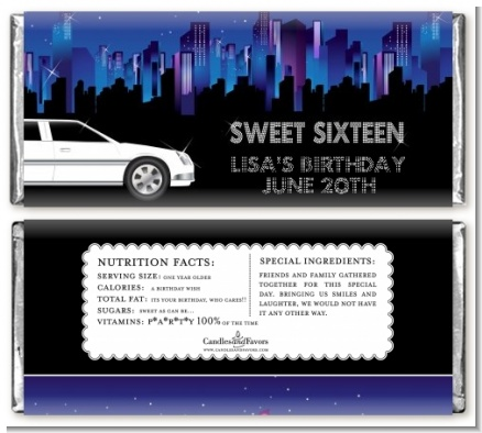 Sweet 16 Limo - Personalized Birthday Party Candy Bar Wrappers