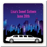 Sweet 16 Limo - Square Personalized Birthday Party Sticker Labels