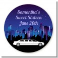 Sweet 16 Limo - Round Personalized Birthday Party Sticker Labels thumbnail