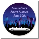 Sweet 16 Limo - Round Personalized Birthday Party Sticker Labels