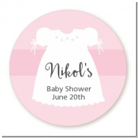 Sweet Little Lady - Round Personalized Baby Shower Sticker Labels
