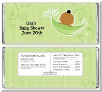 Sweet Pea African American Boy - Personalized Baby Shower Candy Bar Wrappers