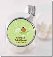 Sweet Pea African American Boy - Personalized Baby Shower Candy Jar