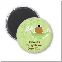 Sweet Pea African American Boy - Personalized Baby Shower Magnet Favors