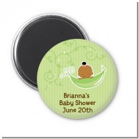 Sweet Pea African American Girl - Personalized Baby Shower Magnet Favors