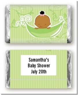 Sweet Pea African American Girl - Personalized Baby Shower Mini Candy Bar Wrappers