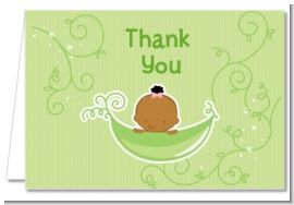 Sweet Pea African American Girl - Baby Shower Thank You Cards