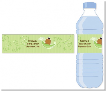 Sweet Pea African American Girl - Personalized Baby Shower Water Bottle Labels