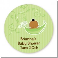 Sweet Pea African American Boy - Round Personalized Baby Shower Sticker Labels