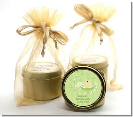 Sweet Pea Asian Boy - Baby Shower Gold Tin Candle Favors