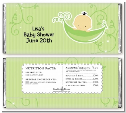 Sweet Pea Asian Boy - Personalized Baby Shower Candy Bar Wrappers