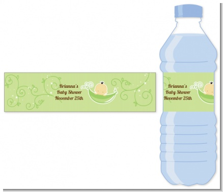 Sweet Pea Asian Boy - Personalized Baby Shower Water Bottle Labels