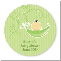 Sweet Pea Asian Boy - Round Personalized Baby Shower Sticker Labels