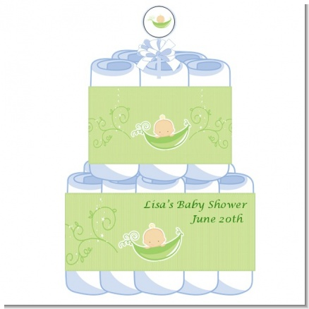Sweet Pea Caucasian Boy - Personalized Baby Shower Diaper Cake 2 Tier