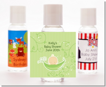 Sweet Pea Caucasian Boy - Personalized Baby Shower Hand Sanitizers Favors
