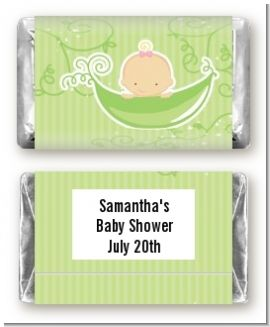 Sweet Pea Caucasian Girl - Personalized Baby Shower Mini Candy Bar Wrappers
