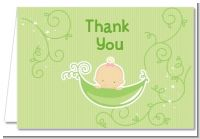 Sweet Pea Caucasian Girl - Baby Shower Thank You Cards