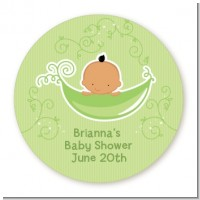 Sweet Pea Hispanic Boy - Round Personalized Baby Shower Sticker Labels