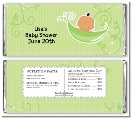 Sweet Pea Hispanic Girl - Personalized Baby Shower Candy Bar Wrappers