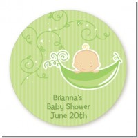 Sweet Pea Caucasian Boy - Round Personalized Baby Shower Sticker Labels