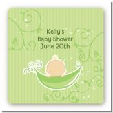 Sweet Pea Caucasian Boy - Square Personalized Baby Shower Sticker Labels